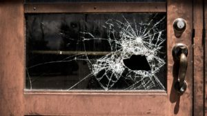 broken, glass, school